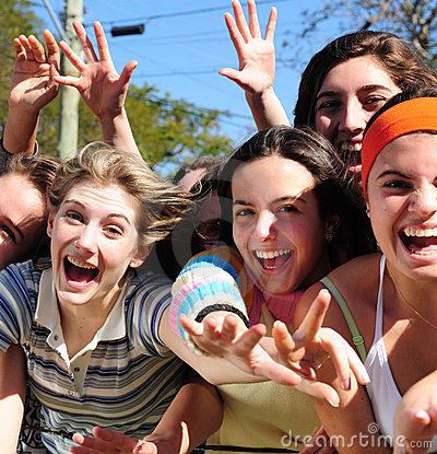 Group of excited young women