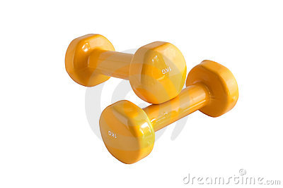 Yellow dumbbells 3