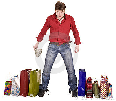 Cheerful happy shopping man. Isolated.