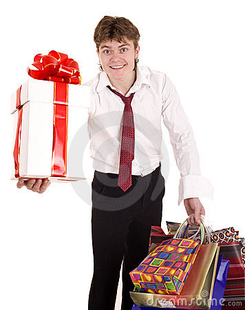 Businessman with gift box shopping.