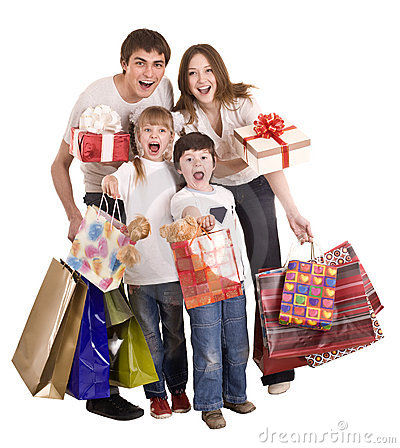 Happy family and children shopping.
