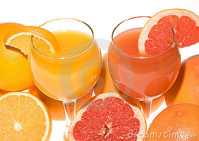 Fresh grapefruit and orange juice