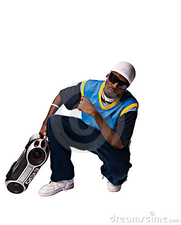 Hip-hop young man with boombox on white background