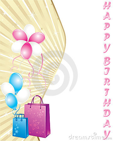 Shopping bags and balloons, birthday card