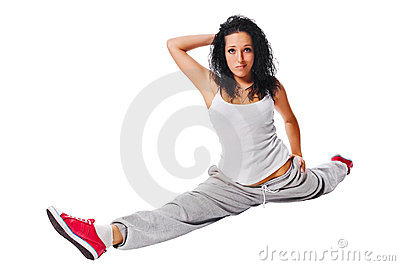 Beautiful fit girl on white background