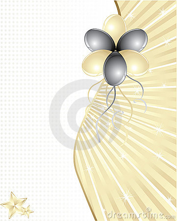 Gold and black balloons with space for text