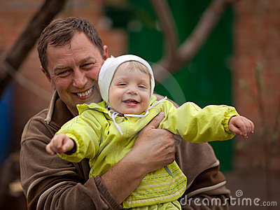 Little girl with grandfather