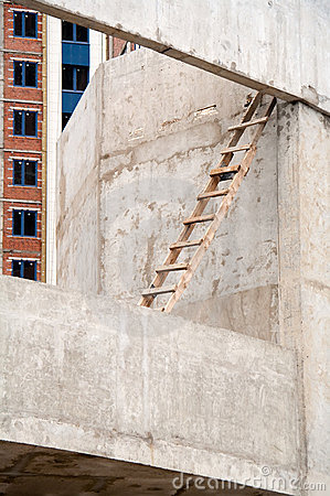 Wooden Ladder at a Construction Site