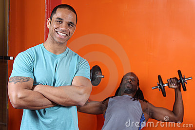 Personal trainer and trainee