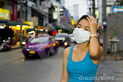 With face mask in bangkok