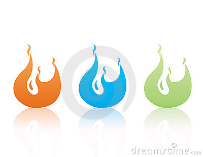 Set of color  flames