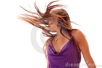 Girl dance with long hair