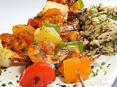 Shrimp Kebabs & Rice