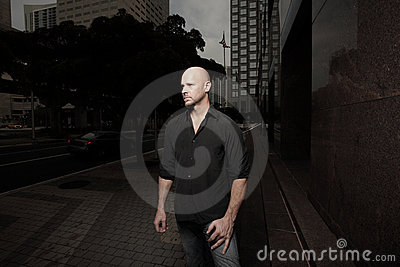 Bald man in the city