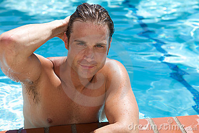 Attractive Young Man in Pool