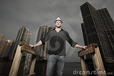 Man with the city in the background