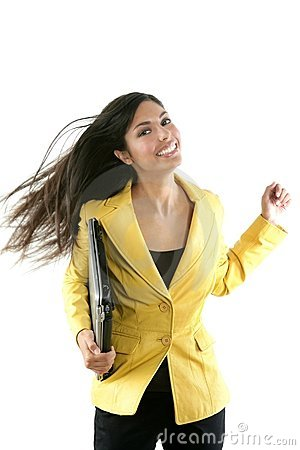 Happy young brunette student with yellow jacket