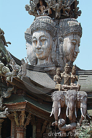Wooden temple in Pattaya, Thailand