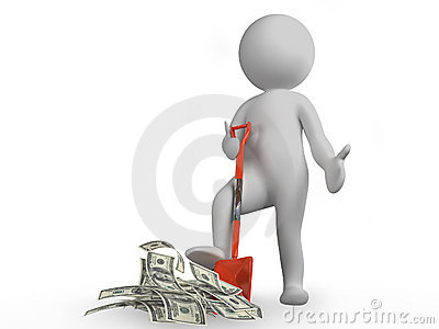 Man with shovel and money
