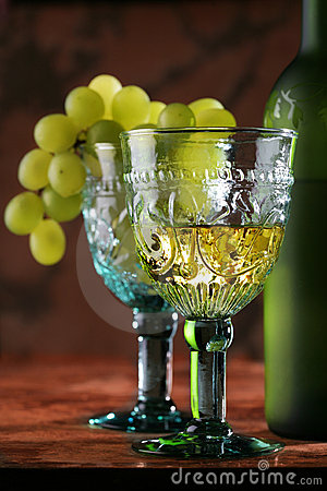 Golden wine in old-time goblet