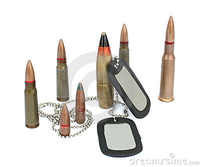 Bullets with dogtags.
