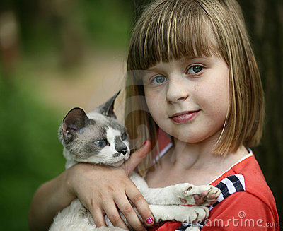 Child and a cat.