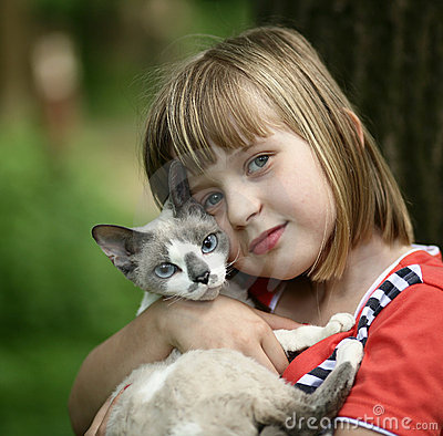 Children with a kitten.