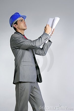 Architect engineer with blue hardhat