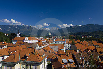Kamnik town in front of alps