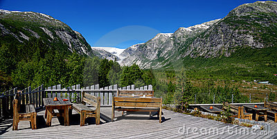 Panorama on Nigardsbreen glacier. Norway