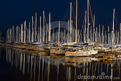 Boats docked in Marina at Night