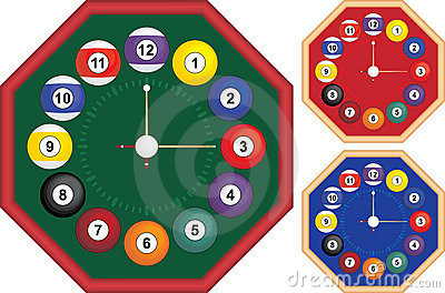 Billiard clock octagon