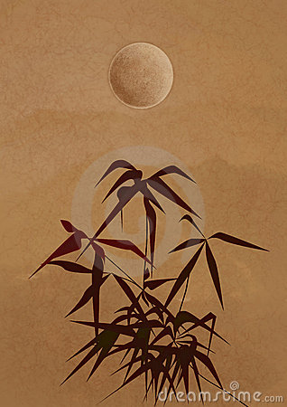 Branch of a bamboo in ancient Chinese style