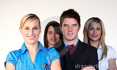 Confident business team looking at the camera