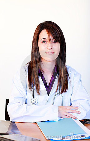 Portrait of a brunette doctor in hospital