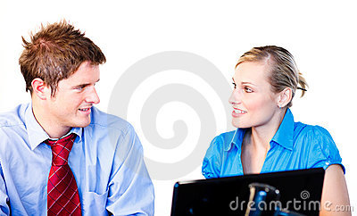 Businessman and businesswoman interacting