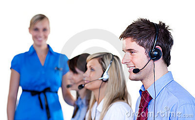 Business people talking with headset
