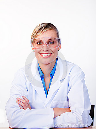 Portrait of a beautiful female scientist