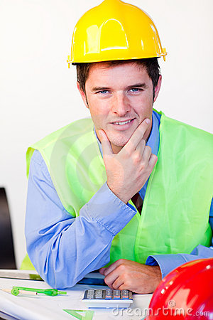 Serious male with hard hat