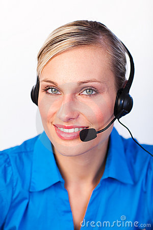 Young woman with headset on