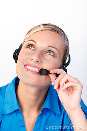 Attractive woman in a call center