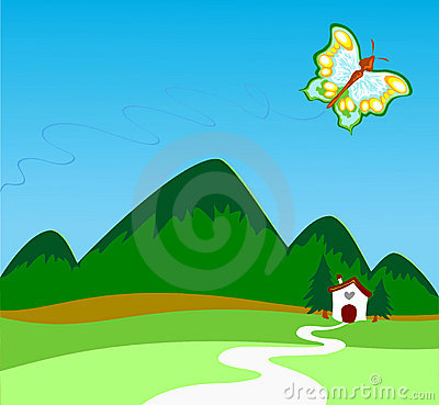 Butterfly that flies above the mountains