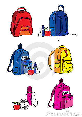 Set of school bag illustrations