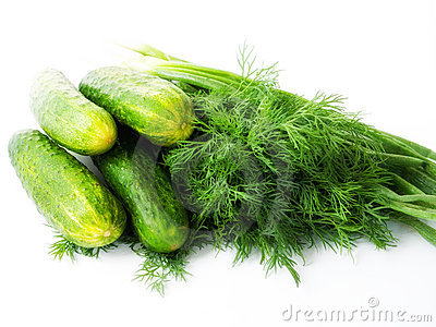 Green cucumbers with dill and spring onions.