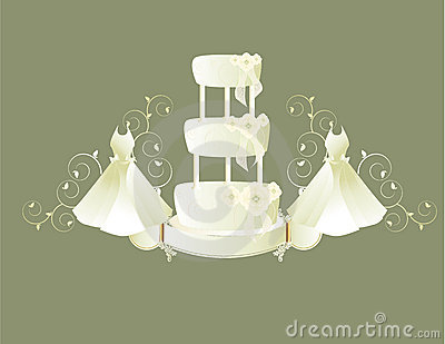 Wedding dress and cake gray background