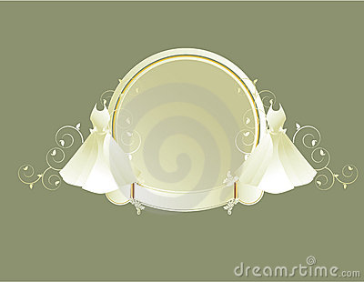 Wedding dress circular frame gray background