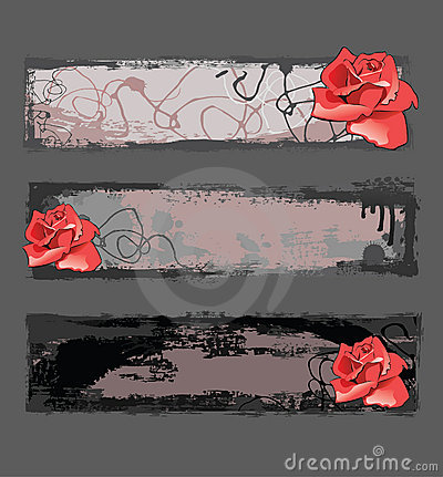 Grunge banners with rose