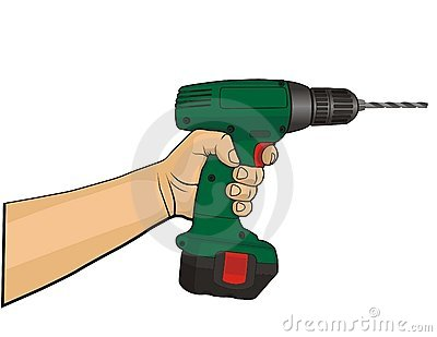 Hand with tool