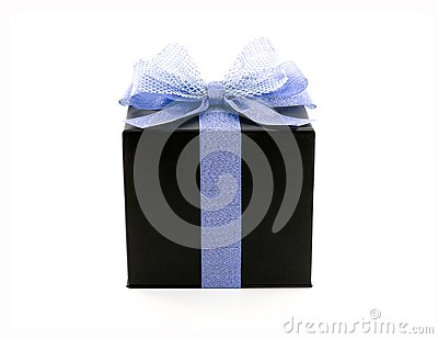 black cube shape cardboard gift box with glittering blue purple color ribbon and net tied bow isolated on white background