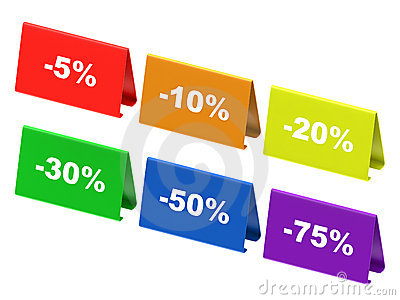 Colourful discount tags